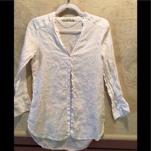 ZARA BASIC 100% LINEN White Button Down Shirt